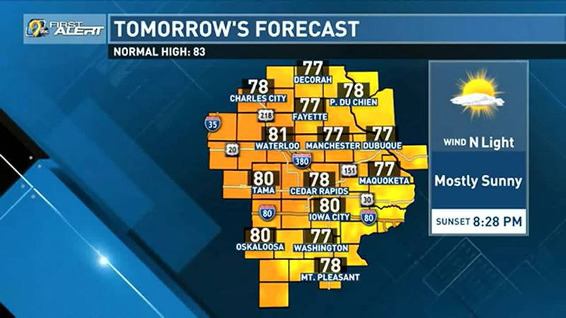 Slightly below-average temperatures and comfortable dew points combine to make for a pleasant...