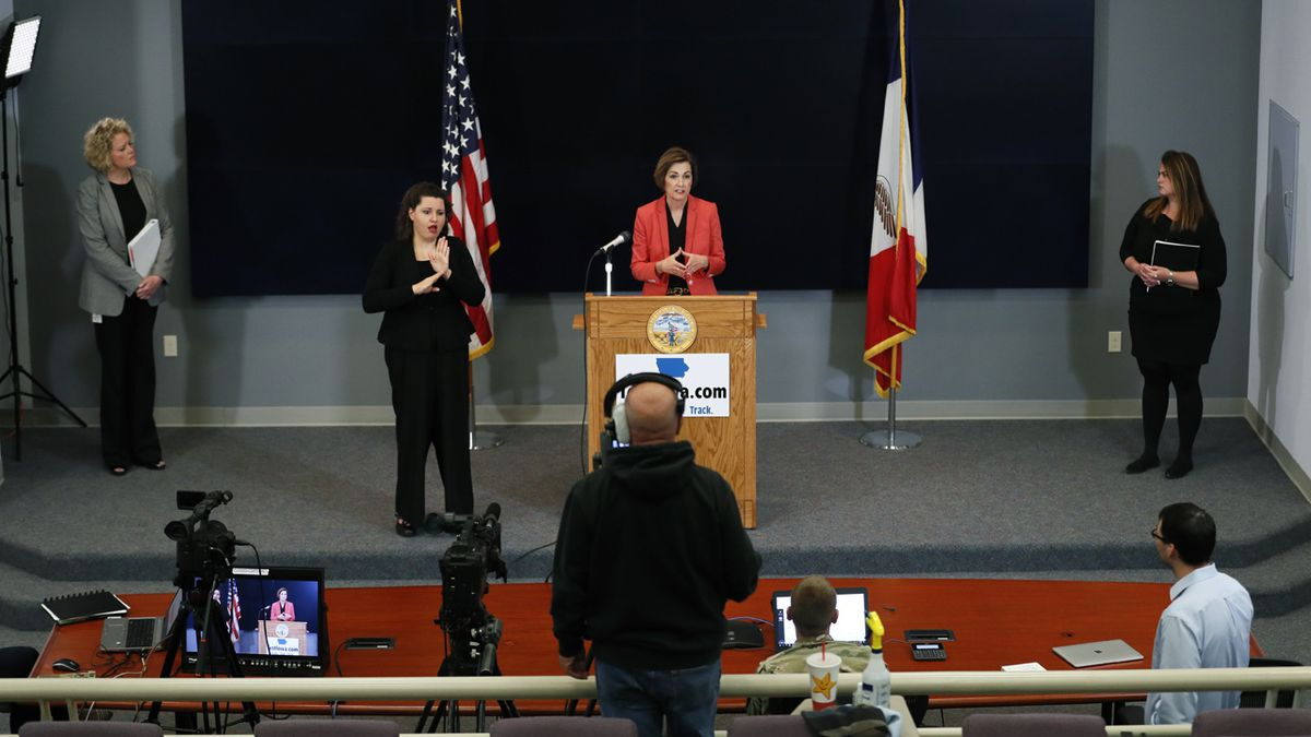 Iowa Gov. Kim Reynolds updates the state's response to the coronavirus outbreak during a news conference at the State Emergency Operations Center, Thursday, May 7, 2020, in Johnston, Iowa. (AP Photo/Charlie Neibergall, pool)
