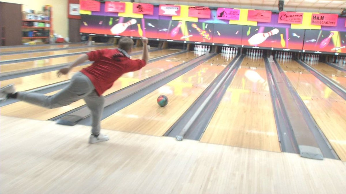 Levi Temple, of Monticello, bowls at Legacy Lanes. He's TV9's February Student of the Month....
