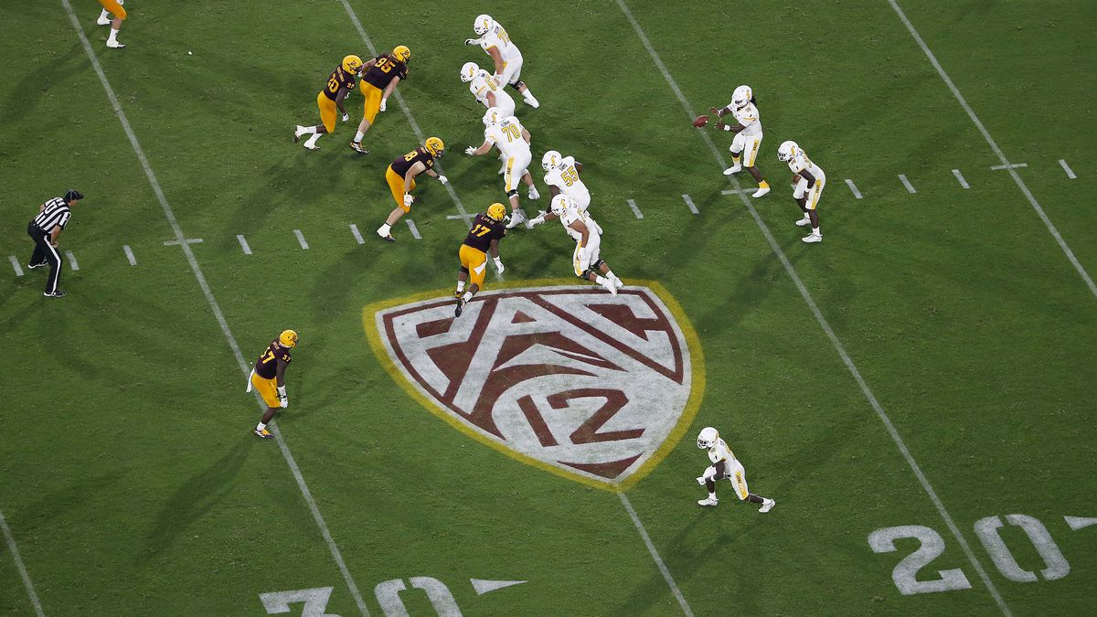 This Thursday, Aug. 29, 2019 file photo shows the Pac-12 logo during the second half of an NCAA college football game between Arizona State and Kent State, in Tempe, Ariz.