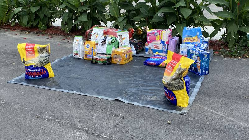 Pile of donations gathered at Canine Corner and Cats Too! in Cedar Rapids, one of the drop-off...