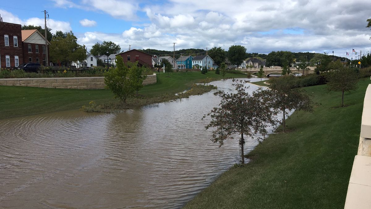 The Bee Branch Creek in Dubuque is still full of water on Friday, September 13 after flash flooding the night before. (Allison Wong, KCRG)