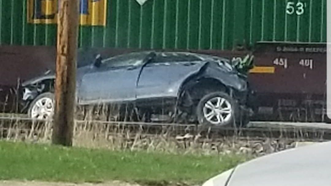 Authorities are investigating after a train and an SUV collided in the 3000 block of C Street SW, Sunday. (Courtesy: Stephanie Nelson)