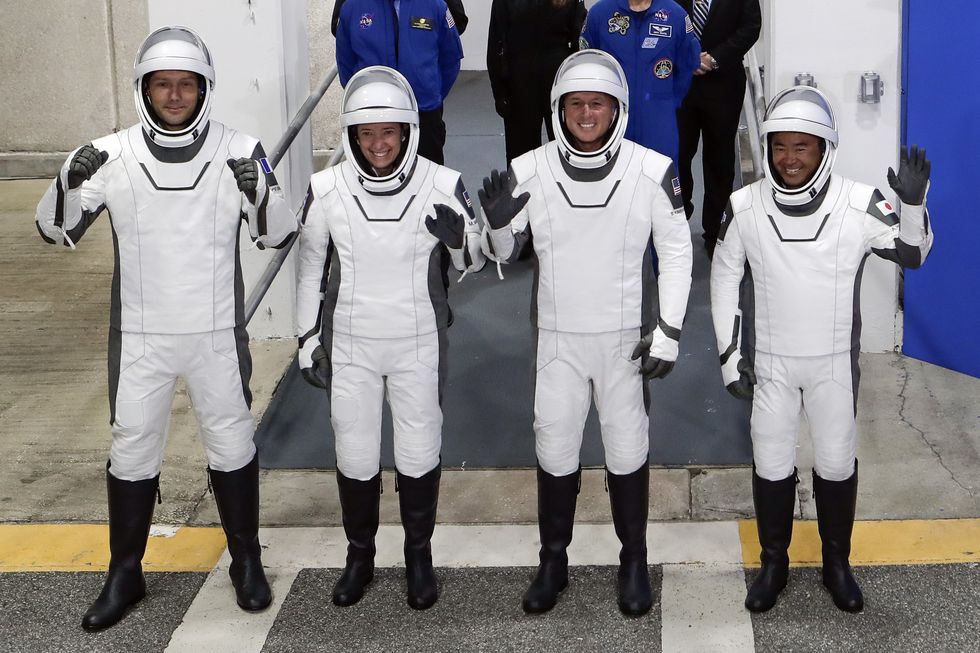 The Crew Dragon space capsule astronauts, from front left, European Space Agency astronaut...