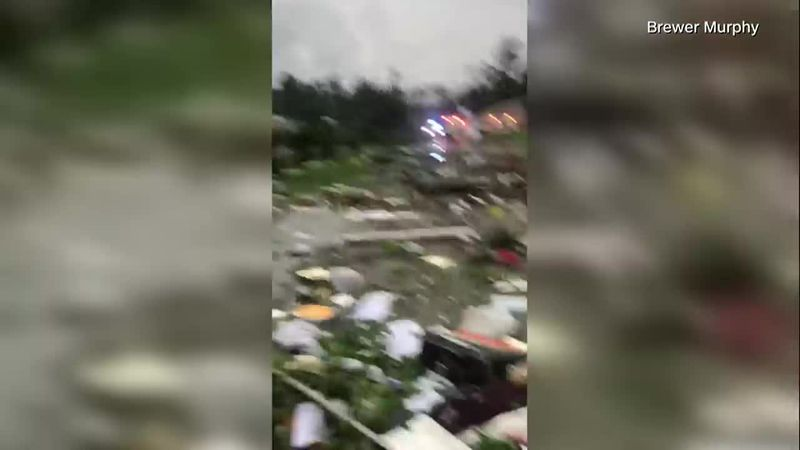 The aftermath of a tornado in East Brewton, Alabama spurred by Tropical Storm Claudette....