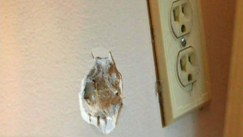 A bullet hole in a home on the southeast side of Cedar Rapids.