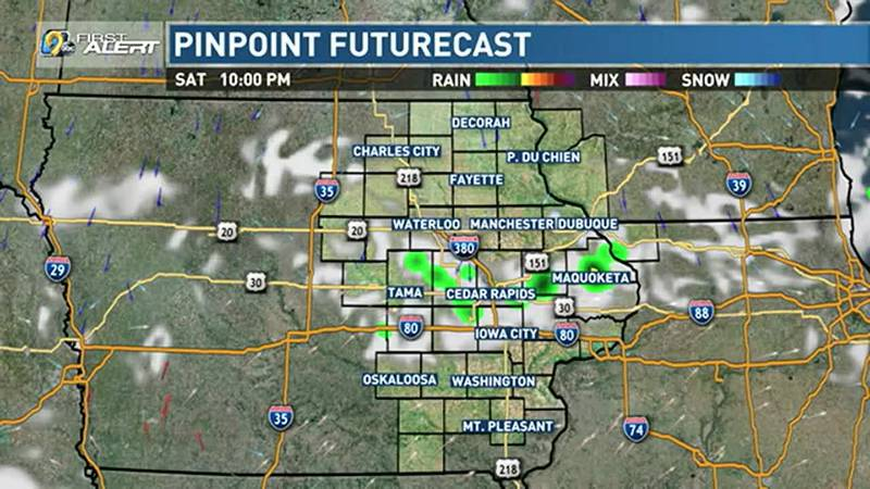 A weak front passing through eastern Iowa this evening could bring some isolated showers or a...