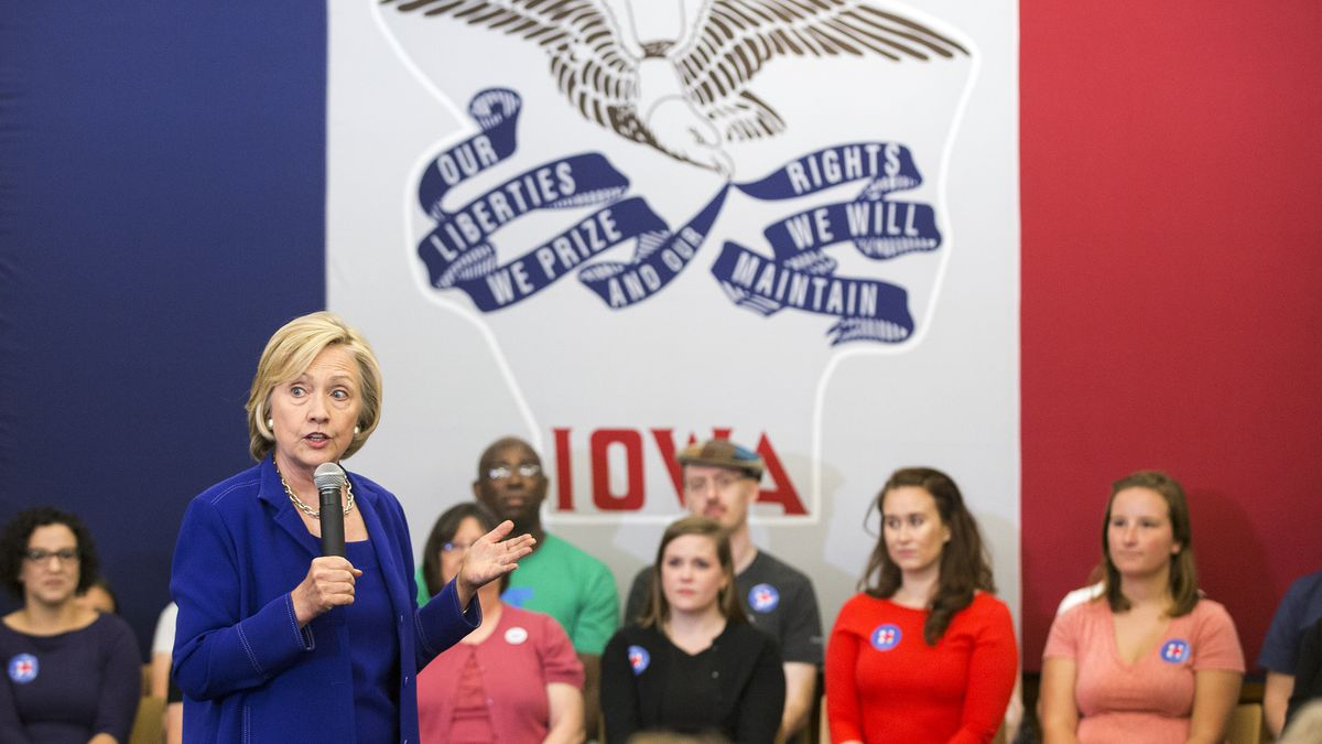 Hillary Clinton addresses supporters at an organizing event at the Iowa City Public Library on...