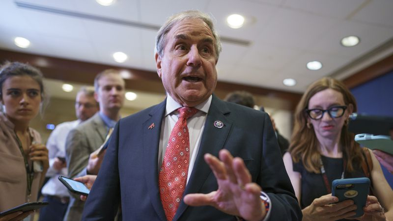House Budget Committee Chairman John Yarmuth, D-Ky., pauses for reporters after meeting with...