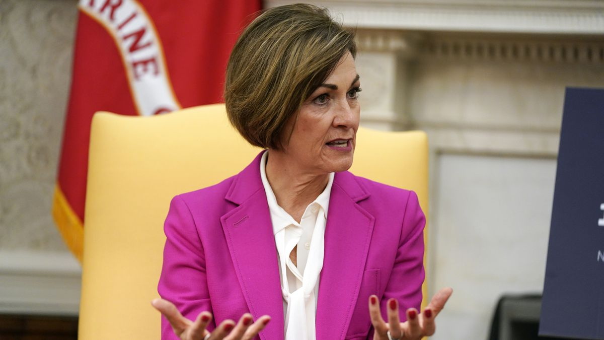 Gov. Kim Reynolds, R-Iowa, speaks during a meeting with President Donald Trump in the Oval Office of the White House, Wednesday, May 6, 2020, in Washington. (AP Photo/Evan Vucci)