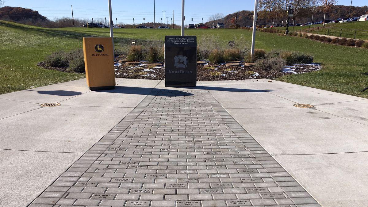 John Deere Works dedicated a memorial that honors military veterans on Thursday, November 7, 2019. (Allison Wong, KCRG)