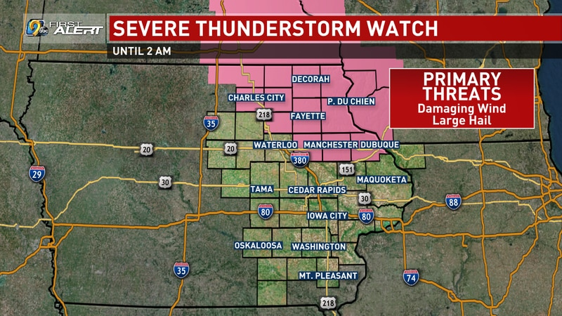 A Severe Thunderstorm Watch, in effect for portions of northeast Iowa until 2:00 a.m. on...