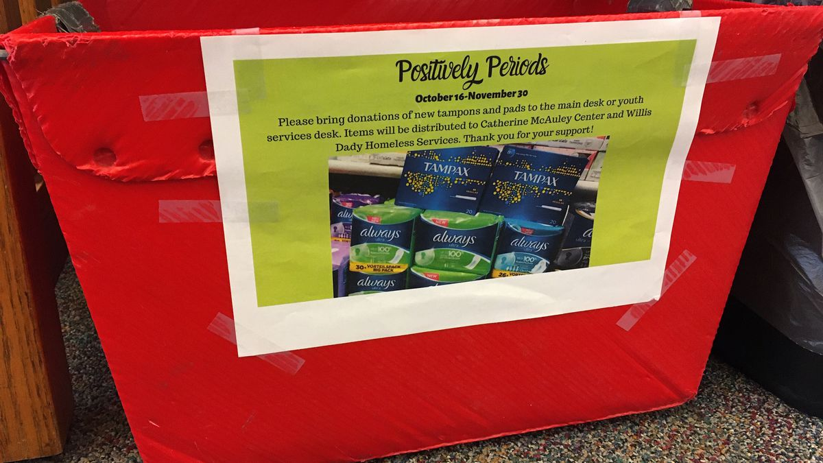 "The Hiawatha Public Library is working to help women in the Cedar Rapids area who need feminine hygiene products through its ""Positively Periods"" drive. (MARY GREEN/KCRG)"
