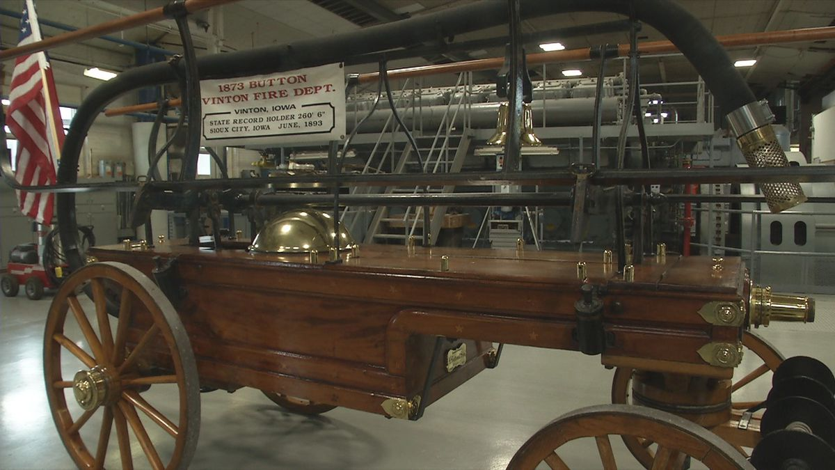 In the Vinton 150th celebration, the VFD manually pulled the 1873 water pumper for the last time