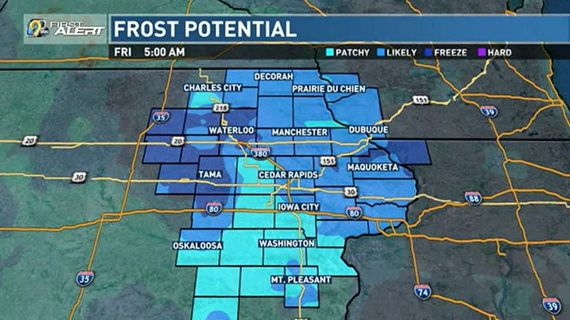 Frost potential for Thursday night and into Friday.