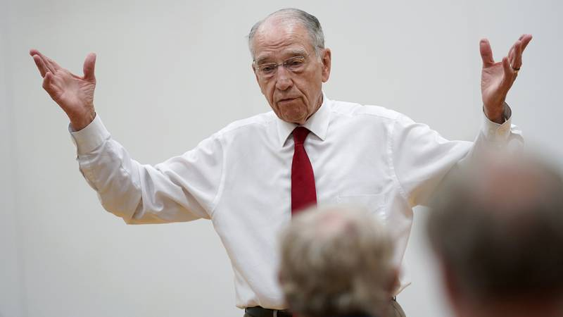 In this June 30, 2021, photo Sen. Chuck Grassley, R-Iowa, speaks during a town hall meeting in...