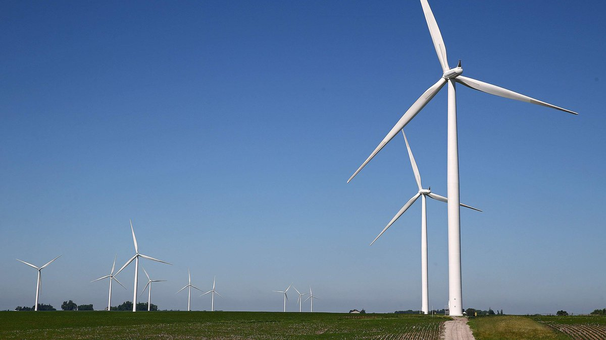 Wind turbines in operation at the Laurel Wind Project in Marshall County on Friday, June 20,...