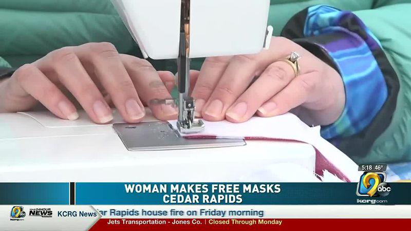 Woman makes free masks