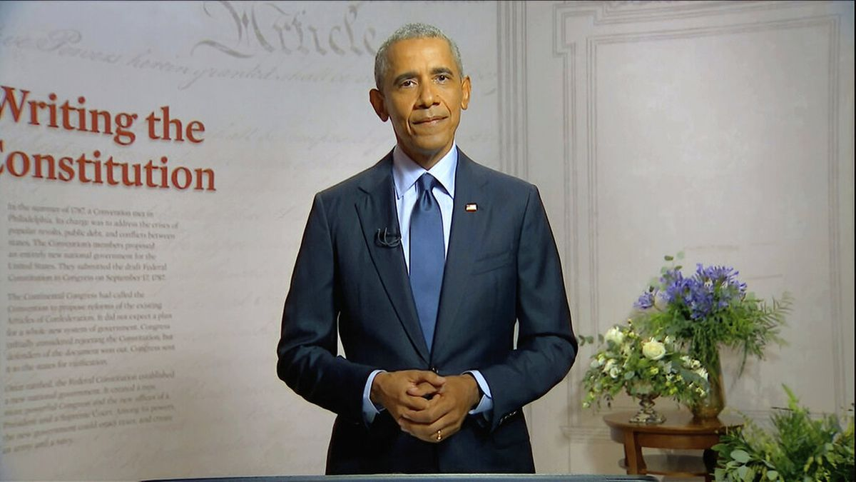 In this image from video, former President Barack Obama speaks during the third night of the Democratic National Convention on Wednesday, Aug. 19, 2020. Obama's 768-page book is the most anticipated presidential memoir in memory, as much or more because of the quality of the writing than for any possible revelations.