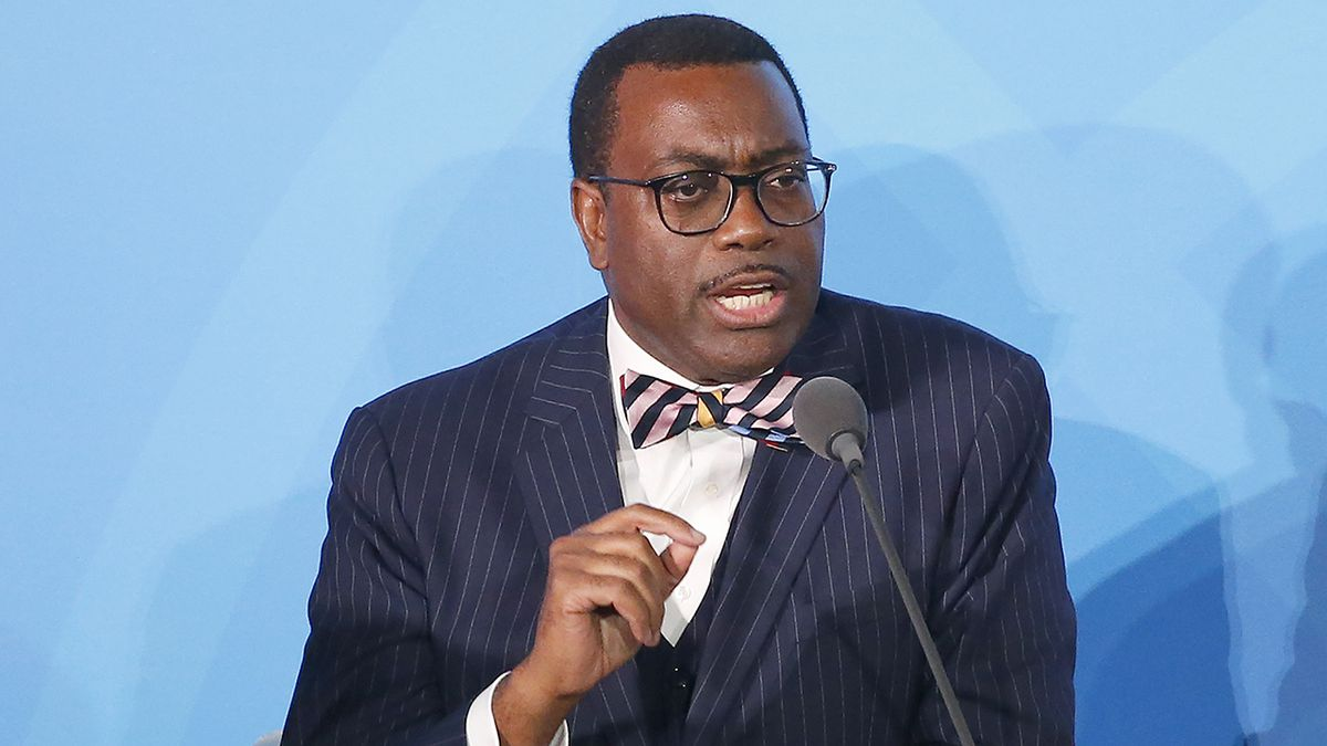 FILE - In this Sept. 23, 2019 file photo, African Development Bank President Akinwumi Adesina,...