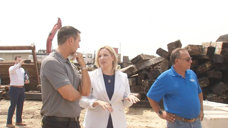 Ashley Hinson talking to workers at Boomerang in Anamosa. Says infrastructure talks at an...