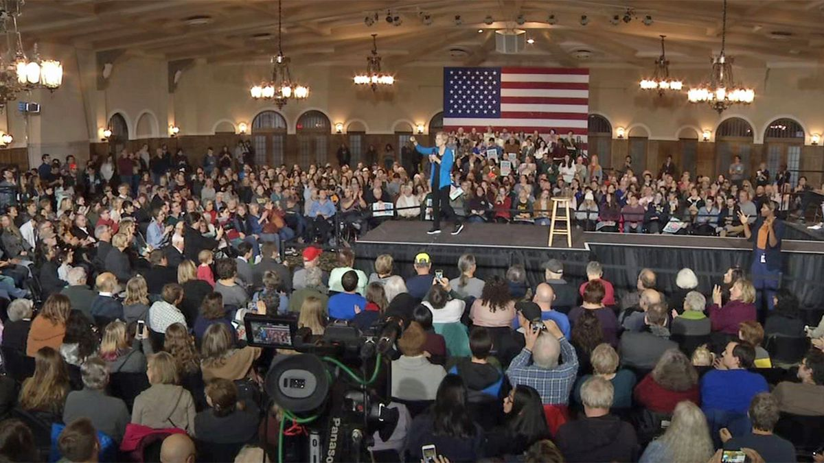 Sen. Elizabeth Warren (D-MA) speaks during a campaign town hall at the Iowa Memorial Union in Iowa City on Monday, Dec. 2, 2019. (Mary Green/KCRG)