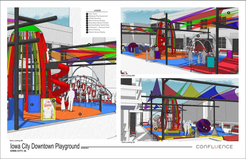 The company Confluence Design developed the design concepts for a new playground at Iowa City's...