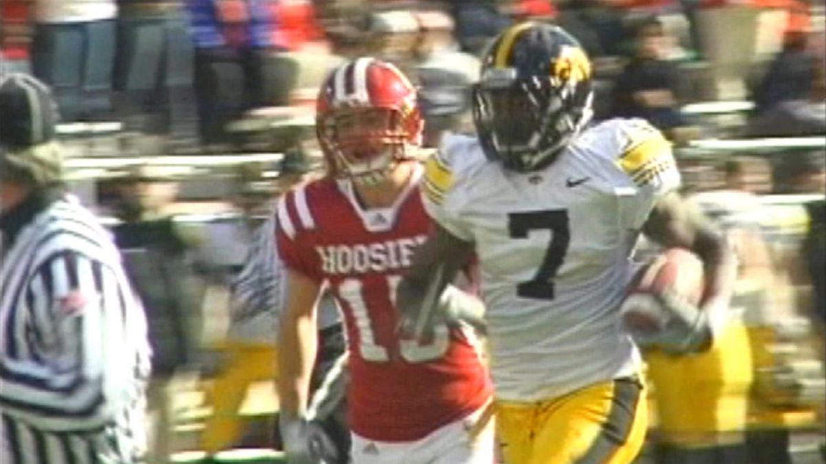Former Iowa receiver Marvin McNutt, pictured during a win against Indiana in 2010, said he...