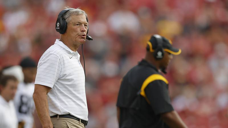 Iowa head coach Kirk Ferentz paces the sidelines during the second half of an NCAA college...