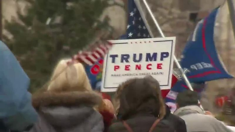 Supporters of President Donald Trump protest the results of the 2020 presidential election in...