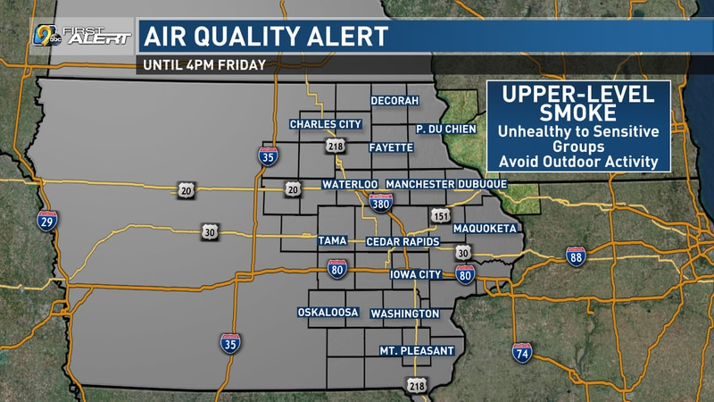 An Air Quality Alert has been issued for the state of Iowa and will stay into effect until 4...