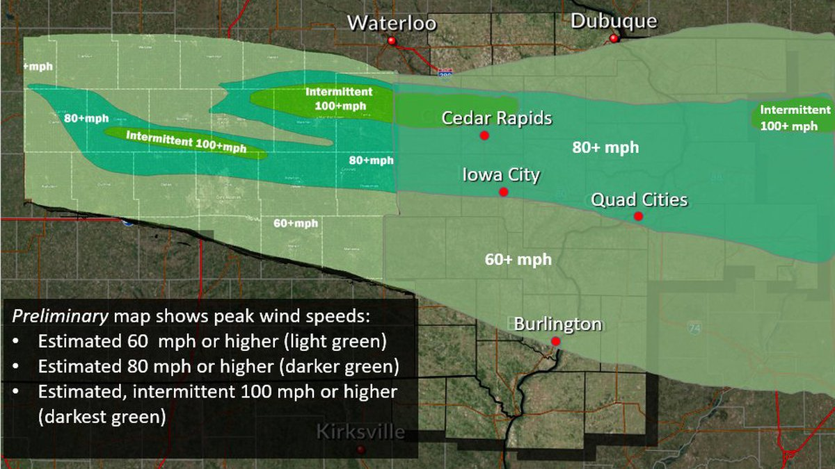 Estimated wind speeds along the path of the derecho on Monday, August 10, 2020, according to...