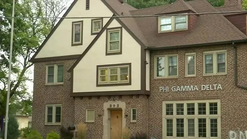 The Phi Gamma Delta fraternity house in Iowa City near the University of Iowa campus.
