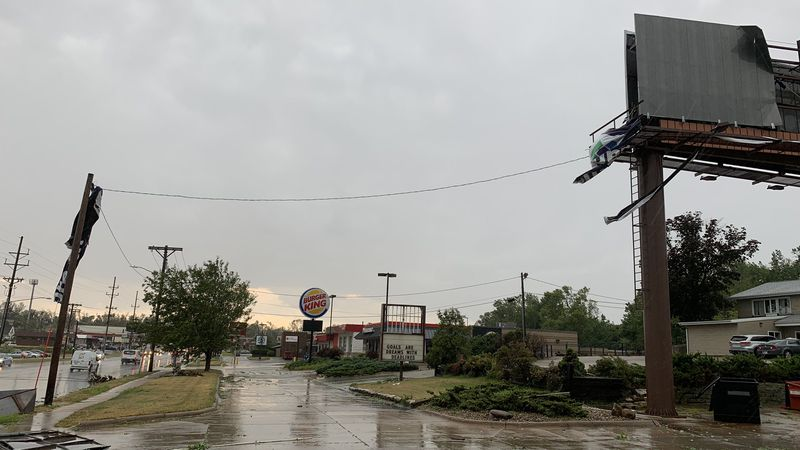 Damage in northwest Cedar Rapids, Iowa, following a wind storm on Monday, August 10th, 2020....