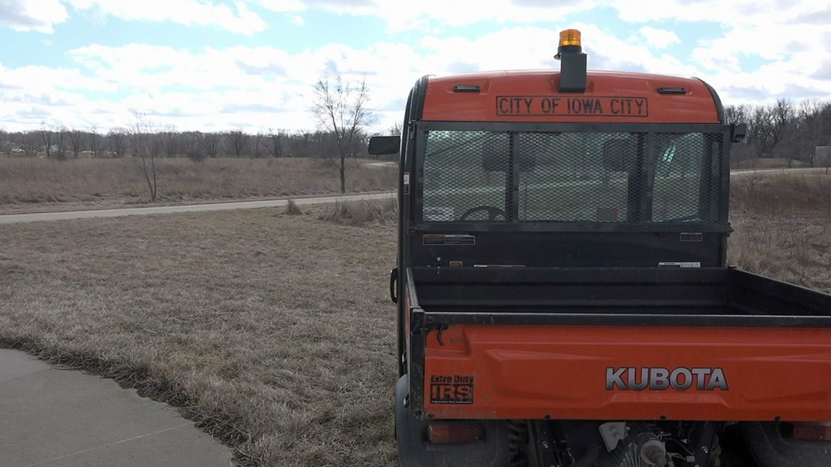 A City of Iowa City UTV is parked at Waterworks Prairie Park in Iowa City on Tuesday, March 3, 2020. Nearly 19 acres of land could be leased by MidAmerican Energy to create a large scale solar energy system that could power about 580 average Iowa homes. (Aaron Scheinblum/KCRG)