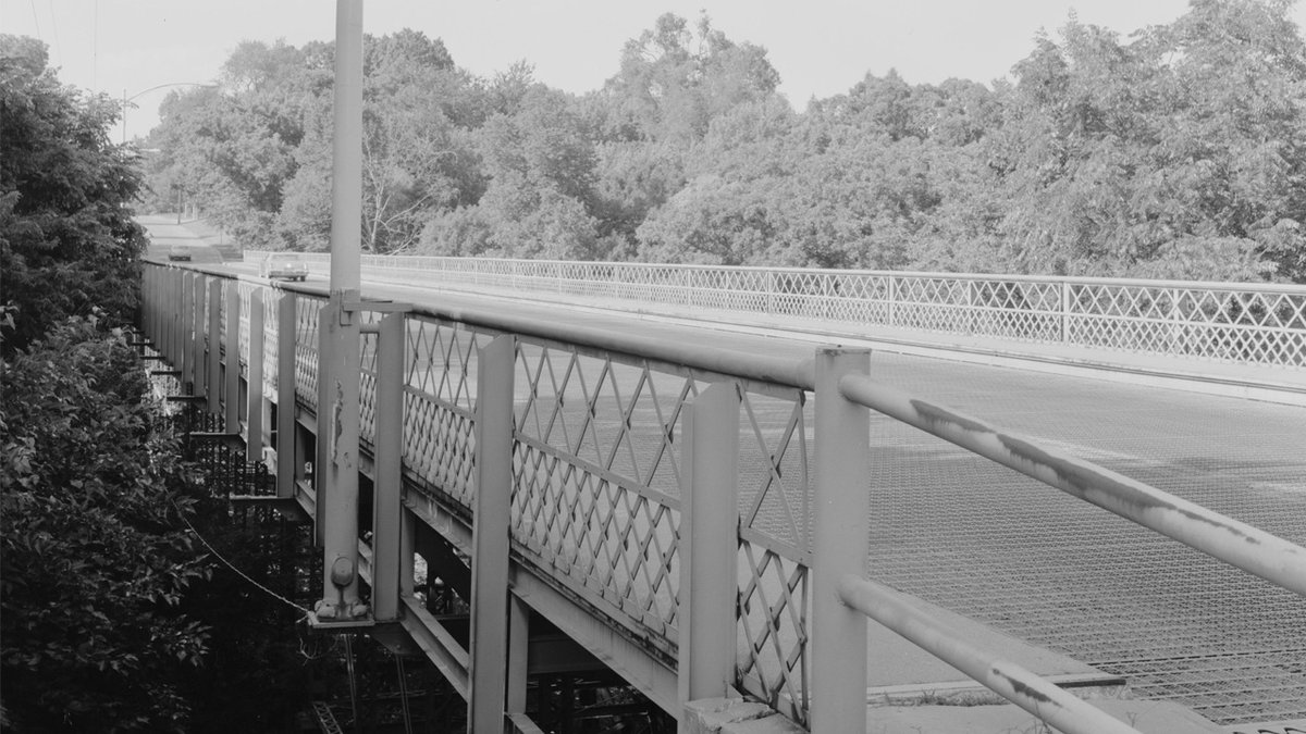 Cascade Bridge in Burlington, Iowa, shown in a 1995 survey conducted as part of the Historical...