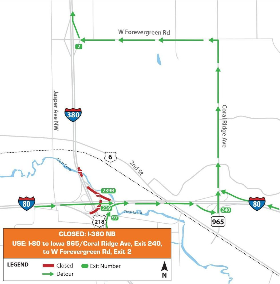 The Interstate 380 northbound lanes and ramps on Interstate 80 will be closed on Friday, March...