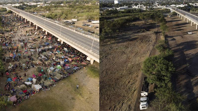 This photo combination shows an area where migrants, many from Haiti, were encamped along the...