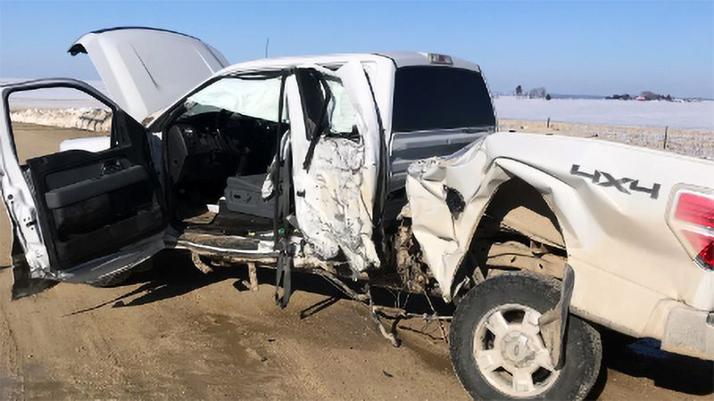 A pickup truck that was involved in a collision with a semi-truck in rural Linn County on...