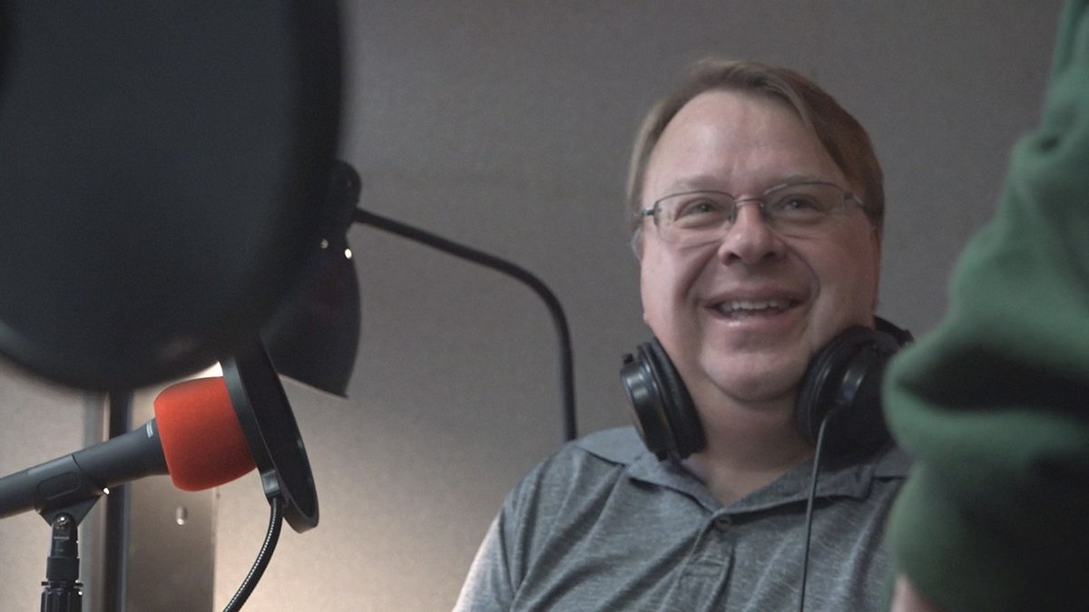 Craig Jarvie gets ready to broadcast live on his weekday show on KICI Radio 105.3 in Iowa City...