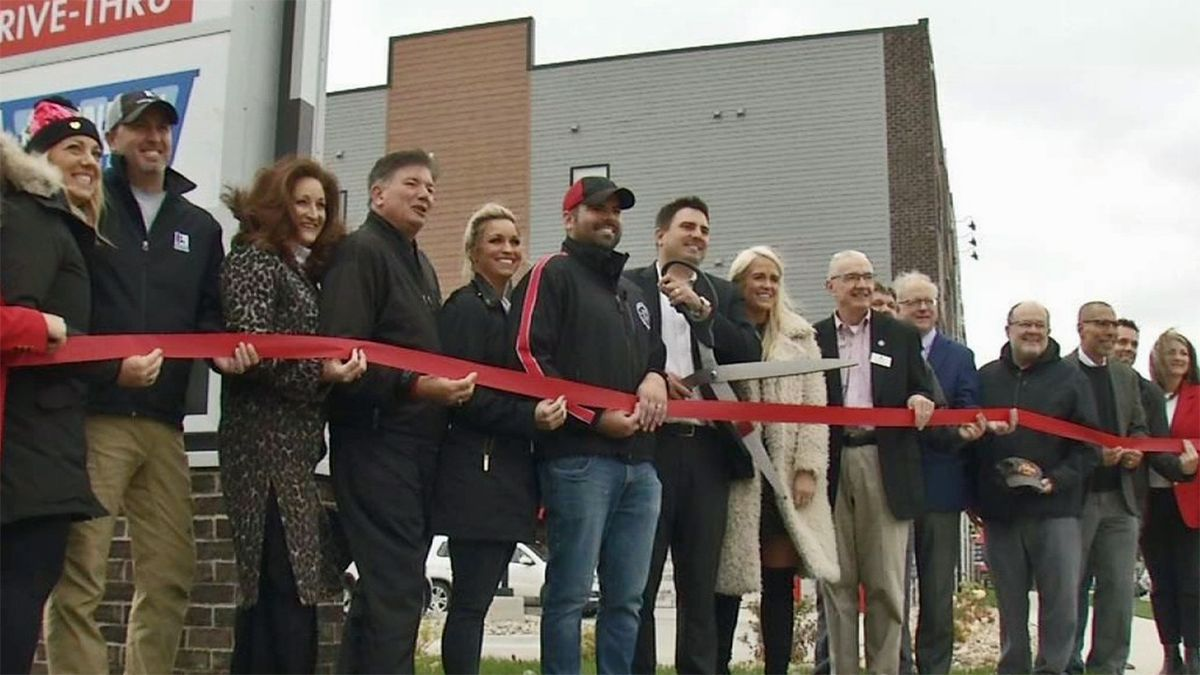 Business owners of a new development at 1450 1st Avenue NE in Cedar Rapids host a ribbon-cutting ceremony on Tuesday, October 21, 2019. (Randy Dircks/KCRG)