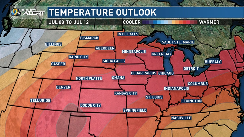 The Climate Prediction Center predicts a very high chance of above-normal temperatures in the second week of July. The normal high here is about 84 degrees.