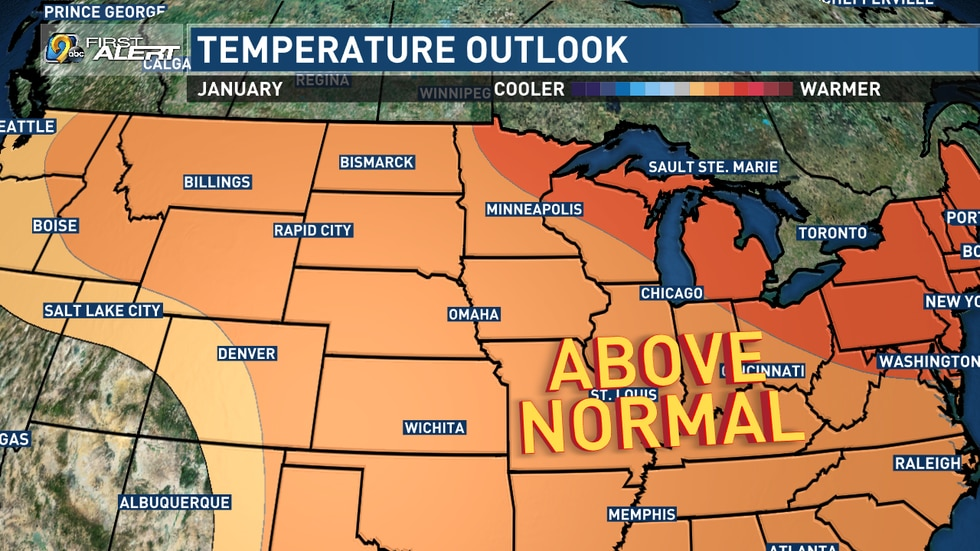 Temperature Outlook for January 2020.