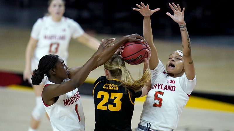 Iowa forward Logan Cook (23) faces pressure from Maryland guard Diamond Miller (1) and forward...
