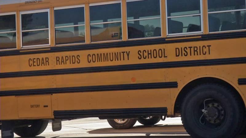 The side of a Cedar Rapids Community School District bus (Phil Reed/KCRG)