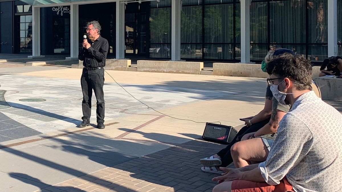 Newman Abuissa of PEACE Iowa speaks during a forum on racial injustice in downtown Iowa City on June 1, 2020.