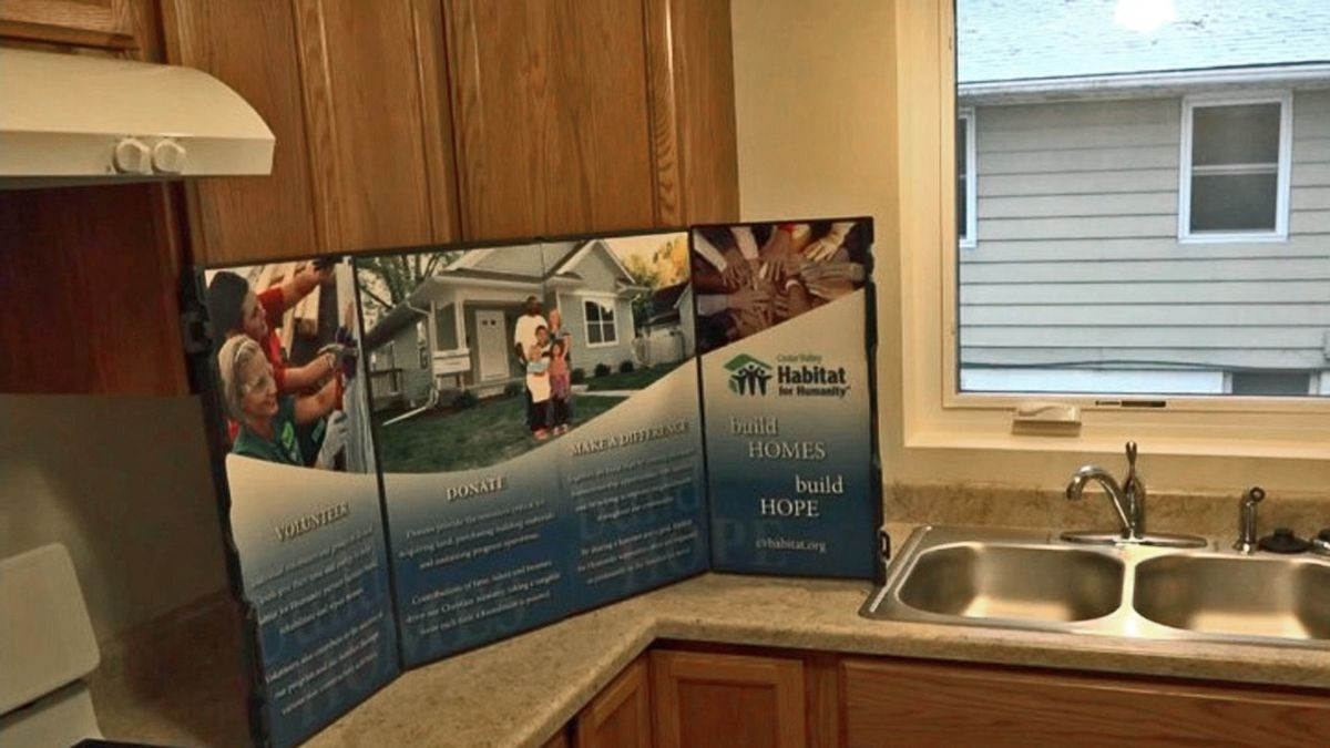 Part of the kitchen in a new duplex condo that was shown off by Cedar Valley Habitat for...