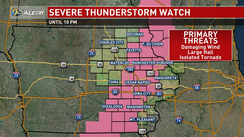 Severe Thunderstorm Watch #507, in effect for the pink-shaded counties until 10:00 p.m. on...
