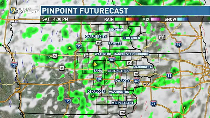 Scattered storms likely on Saturday.
