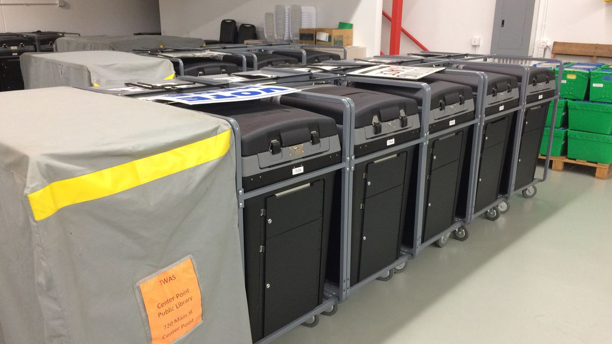 Voting machines in storage at the Linn County Election Depot on Tuesday.